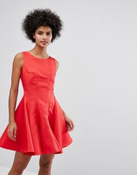 Chi Chi London Fit And Flare Mini Dress With Seam Detail Red