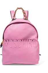 Moschino Embossed Leather Backpack Pink