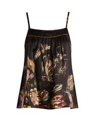 Morpho Luna Coco Silk Satin Cami Top Black Multi
