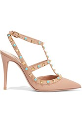 Valentino Rockstud Embellished Leather Pumps Sand