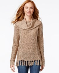 G.H. Bass And Co. Cowl Neck Fringe Sweater Caramel Combo