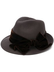 Ca4la Bow Detail Fedora Hat Grey