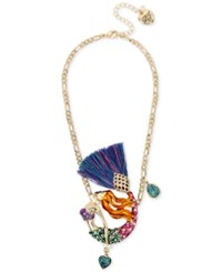 Betsey Johnson Gold Tone Multi Stone Mermaid Pendant Necklace