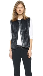 Vince Quilted Leather And Fur Vest Coastal