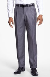 Men's Santorelli 'Luxury Serge' Double Pleated Wool Trousers Med Grey