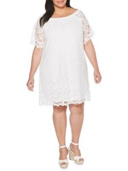 Rafaella Plus Lace Off The Shoulder Bell Sleeve Dress White
