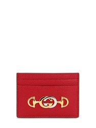 Gucci Zumi Leather Card Holder Hibiscus Red