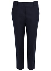 The Row Blake Cropped Cotton Trousers Navy