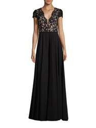 Aidan Mattox Lace And Chiffon Gown Black Nude