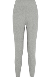 Dkny Ribbed Cotton Blend Track Pants Gray