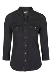 Topshop Moto Fitted Western Shirt Washed Black