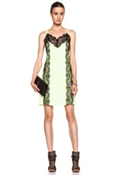 Christopher Kane Mini Viscose Blend Lace Cami Dress In Neon Floral Yellow