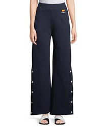 Courreges Side Snap Fleece Trousers Navy