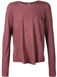 Poeme Bohemien Poeme Bohemien Long Sleeve T Shirt With A Chest Pocket Red