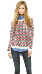 Chinti And Parker Cashmere Heart Fairisle Sweater Cream