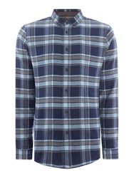 Linea Men's Balmoral Herringbone Check Shirt Blue