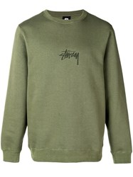 Stussy Embroidered Logo Sweater Green