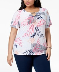 Jm Collection Plus Size Jacquard Top Created For Macy's Modern Leaves