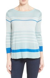 Women's Halogen Button Back Boatneck Sweater Blue Colorblock Stripe