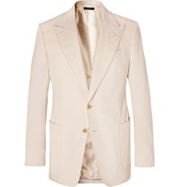 Tom Ford Cream Shelton Slim Fit Cotton And Linen Blend Corduroy Blazer Cream