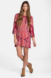 Junior Women's Billabong 'Gypsy Daze' Print Dress Black Cherry