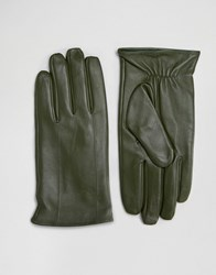 Barney's Barneys Leather Gloves In Khaki Green