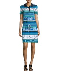 Diane Von Furstenberg Kassie Printed Short Sleeve Polo Dress Chevron Ba