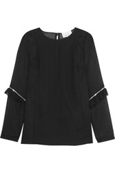 3.1 Phillip Lim Zip Detailed Ruffled Georgette And Cotton Crepe Top Black