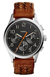 Fossil Men's Vintage 54 Chronograph Leather Strap Watch 42Mm Brown Black Silver