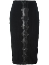 Alaia Vintage High Rise Velvet Effect Skirt Black