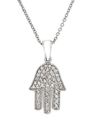 Effy Pave Classica 14K White Gold And Diamond Hamsa Hand Pendant Necklace