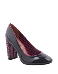 Nina Idra Laser Cut Patent Leather Pumps Night Blue Fuchsia