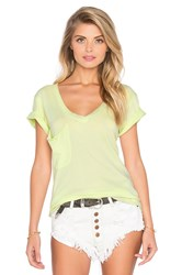 Bobi Lightweight Jersey V Neck Pocket Tee Yellow