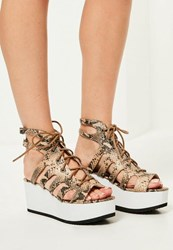 Missguided Nude Snake Print Lace Up Flatform Sandals