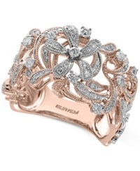 Effy Pave Rose By Diamond Floral Ring 3 8 Ct. T.W. In 14K Rose Gold