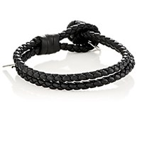 Bottega Veneta Men's Intrecciato Leather Double Band Bracelet Black Blue Black Blue
