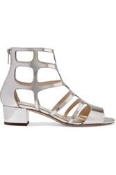 Jimmy Choo Ren Cutout Mirrored Leather Sandals Silver