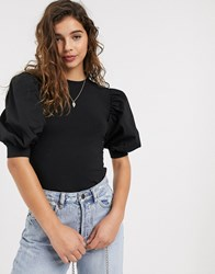 Pieces Top With Puff Sleeves In Black