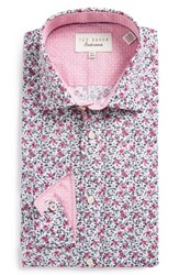 Ted Baker Men's Big And Tall London Gates Trim Fit Floral Dress Shirt Pink