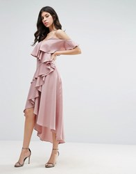 True Decadence Frill Midi Dress With Cold Shoulder Dusty Lilac Purple