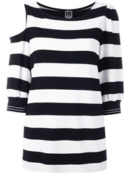 I'm Isola Marras Striped Cold Shoulder Top Black