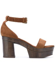 L'autre Chose Clogs With Ankle Strap Women Leather Calf Suede Rubber 38 Brown