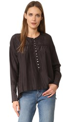 Free People Live To Tell Blouse Black