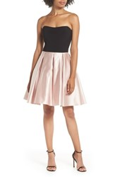 Blondie Nites Strapless Satin Skirt Fit And Flare Dress