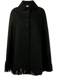 Alaia Fringed Cape Black