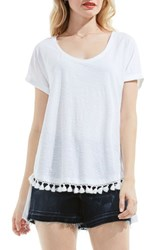 Vince Camuto Women's Two By Tassel Trim Cotton Tee