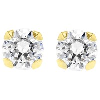 Ibb 9Ct Gold Round Cubic Zirconia Stud Earrings