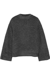 Elizabeth And James Kirk Stretch Boucle Turtleneck Sweater Charcoal
