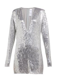 Ashish Sequinned Plunge Neck Mini Dress Silver