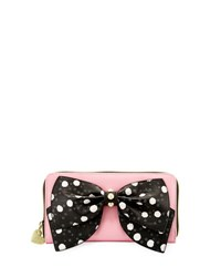 Betsey Johnson Ready Set Bow Wallet On A String Black Pattern